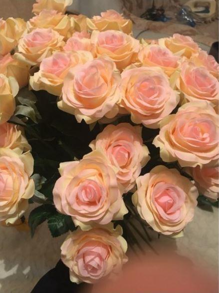 【送料無料】大量25本 バラ 高級造花 アートフラワー シルクフラワー 花束 薔薇 ローズ アレンジメント ブーケ プレゼント 結婚式 ピンク_画像2
