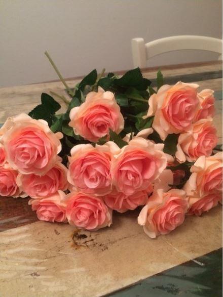 【送料無料】大量25本 バラ 高級造花 アートフラワー シルクフラワー 花束 薔薇 ローズ アレンジメント ブーケ プレゼント 結婚式 ピンク_画像4
