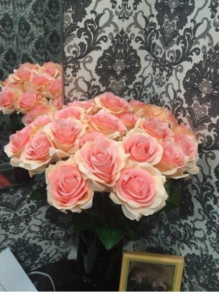 【送料無料】大量25本 バラ 高級造花 アートフラワー シルクフラワー 花束 薔薇 ローズ アレンジメント ブーケ プレゼント 結婚式 ピンク_画像6