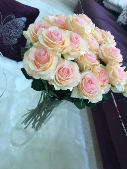 【送料無料】大量25本 バラ 高級造花 アートフラワー シルクフラワー 花束 薔薇 ローズ アレンジメント ブーケ プレゼント 結婚式 ピンク_画像5