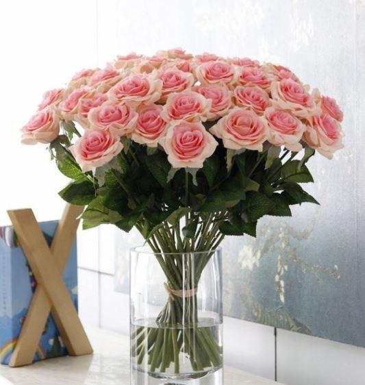 【送料無料】大量25本 バラ 高級造花 アートフラワー シルクフラワー 花束 薔薇 ローズ アレンジメント ブーケ プレゼント 結婚式 ピンク