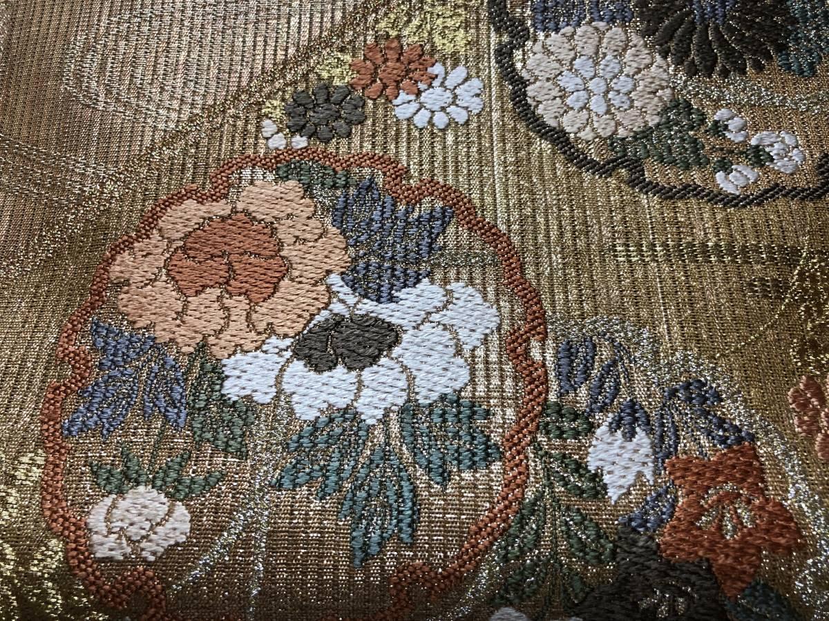 未使用 手織西陣 正絹 夏帯 金糸 縦絽 袋帯 ゴージャス 丸紋流水花文様_画像5