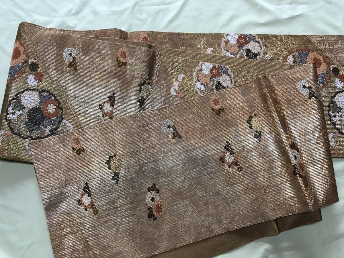 未使用 手織西陣 正絹 夏帯 金糸 縦絽 袋帯 ゴージャス 丸紋流水花文様_画像3