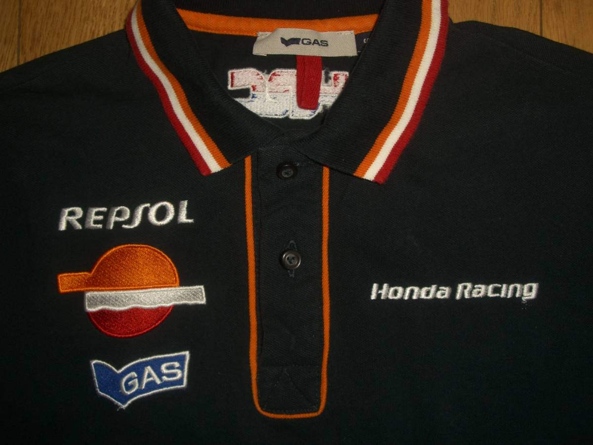 GAS Honda Racing ホンダ 半袖 綿 ポロシャツ S_画像3