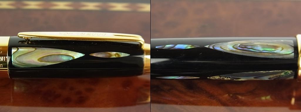 1円 デューク 未使用 螺鈿細工 碧海明珠 シェル 黒漆 ペン先 14K 14金 580 コンバーター カートリッジ両用式 万年筆 筆記用具 箱付き_画像7