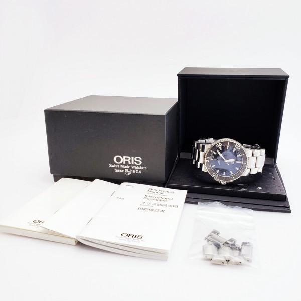 ORISオリス アクイスデイト 7653-04 メンズ 自動巻き腕時計 シースルーバック 裏スケ ブラック AQUIS オートマ ダイバーズ _画像10