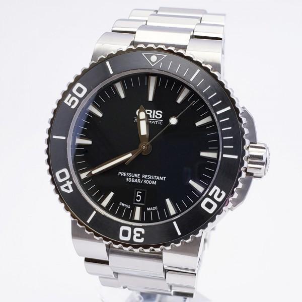 ORISオリス アクイスデイト 7653-04 メンズ 自動巻き腕時計 シースルーバック 裏スケ ブラック AQUIS オートマ ダイバーズ _画像1