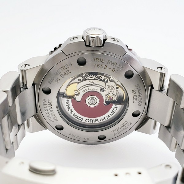 ORISオリス アクイスデイト 7653-04 メンズ 自動巻き腕時計 シースルーバック 裏スケ ブラック AQUIS オートマ ダイバーズ _画像3