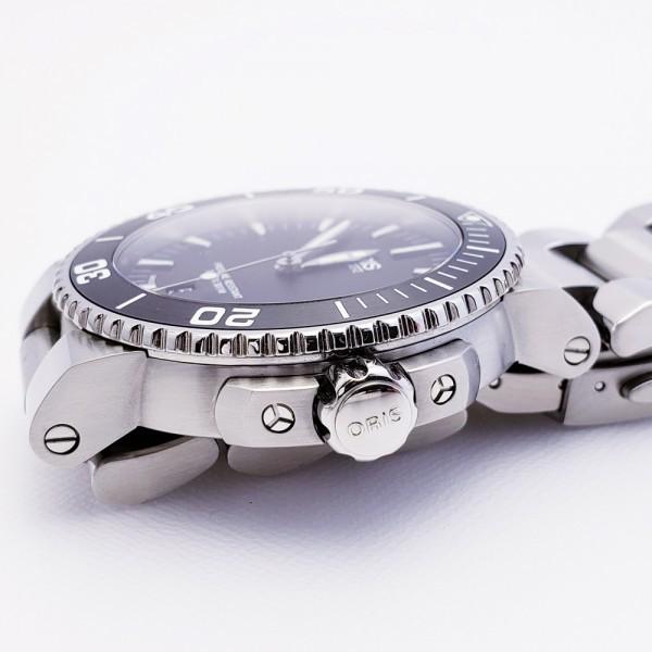 ORISオリス アクイスデイト 7653-04 メンズ 自動巻き腕時計 シースルーバック 裏スケ ブラック AQUIS オートマ ダイバーズ _画像4