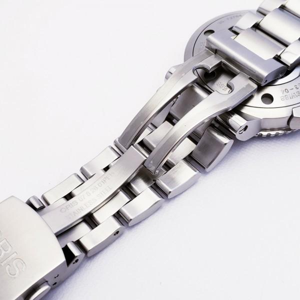ORISオリス アクイスデイト 7653-04 メンズ 自動巻き腕時計 シースルーバック 裏スケ ブラック AQUIS オートマ ダイバーズ _画像8