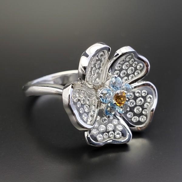 Gemtique ジェムティーク 750WG(K18WG) 花型デザインリング 13号 指輪_画像1