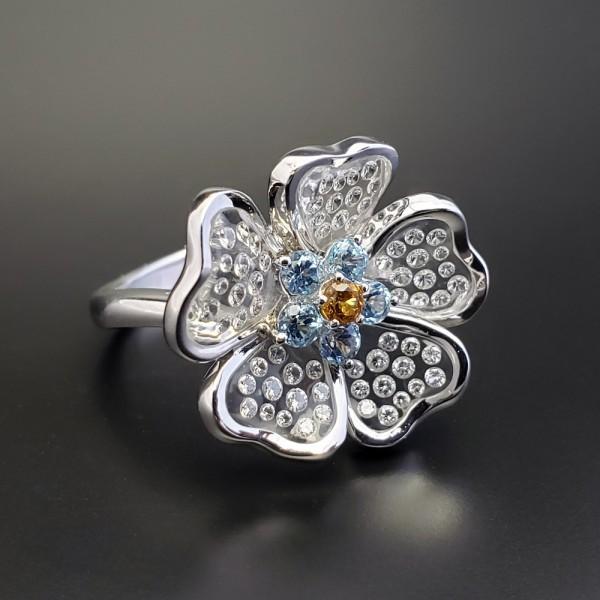 Gemtique ジェムティーク 750WG(K18WG) 花型デザインリング 13号 指輪_画像3