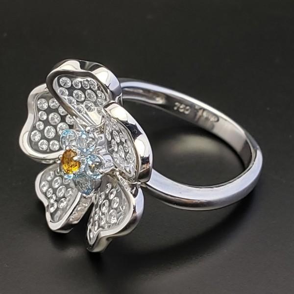 Gemtique ジェムティーク 750WG(K18WG) 花型デザインリング 13号 指輪_画像2