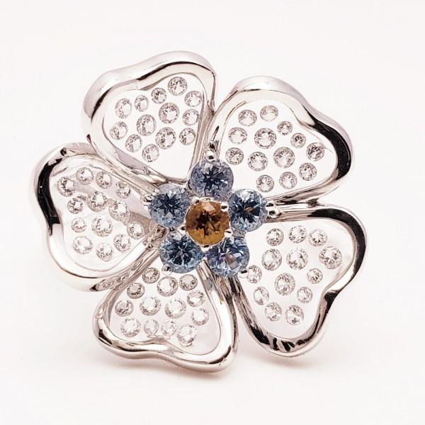 Gemtique ジェムティーク 750WG(K18WG) 花型デザインリング 13号 指輪_画像9