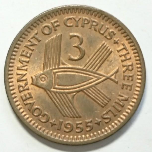 【キプロス】3ミル銅貨 1955年 約20.5mm_画像1