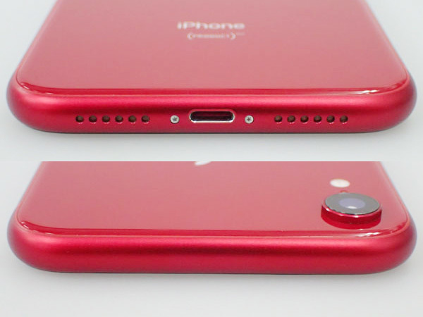 【極美品】simロック解除済み Apple au iPhone XR 64GB PRODUCT RED MT062J/A バッテリー最大容量100% 制限○(JFA578-1)_画像3