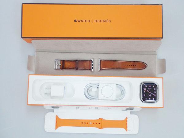 【中古】Apple Watch Hermes Series 4 GPS+Cellular 44mm シンプルトゥール MU762J/A ヴォーバレニア フォーヴ レザーストラップ(JFA598-2)