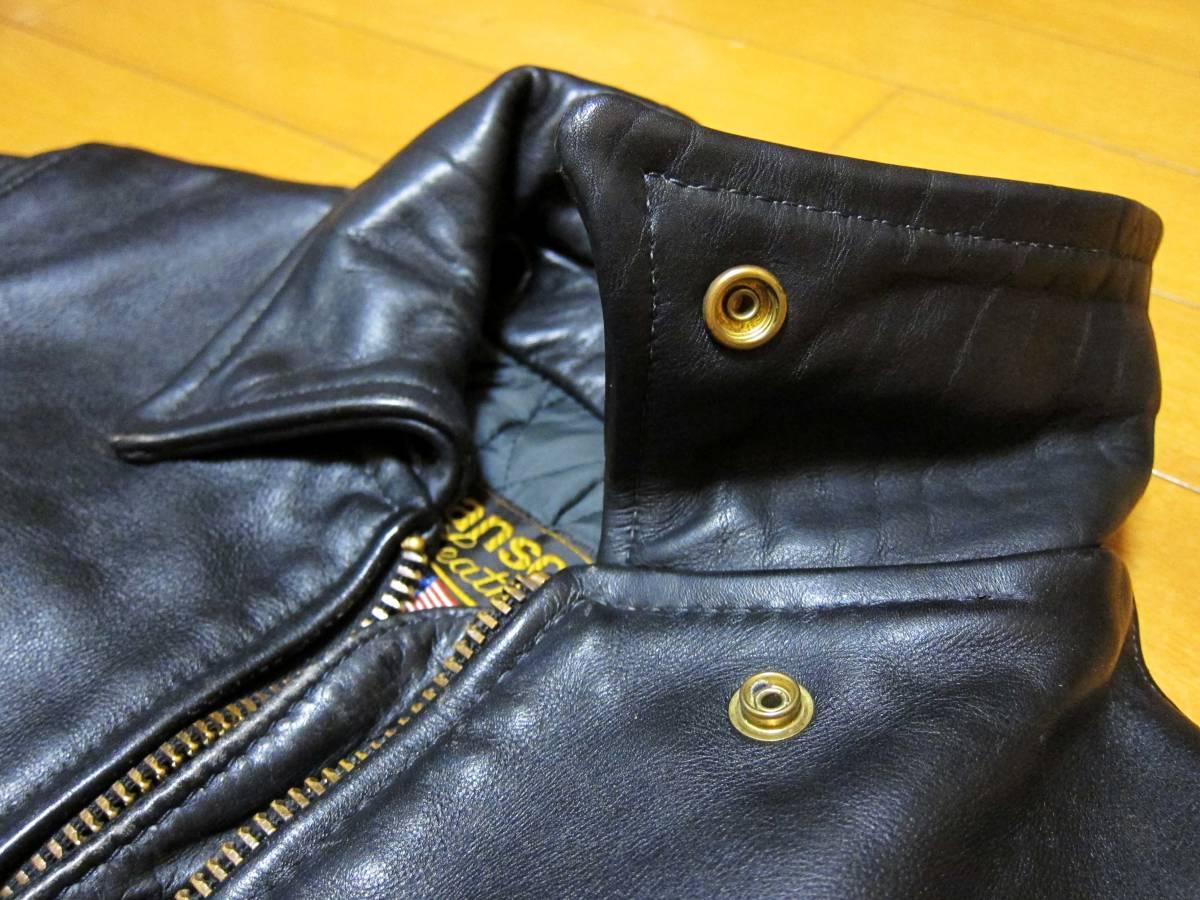 ☆バックドロップ別注☆オールドタイプのバンソン襟付きシングルライダース VANSON TYPE.9D Size.34_画像3