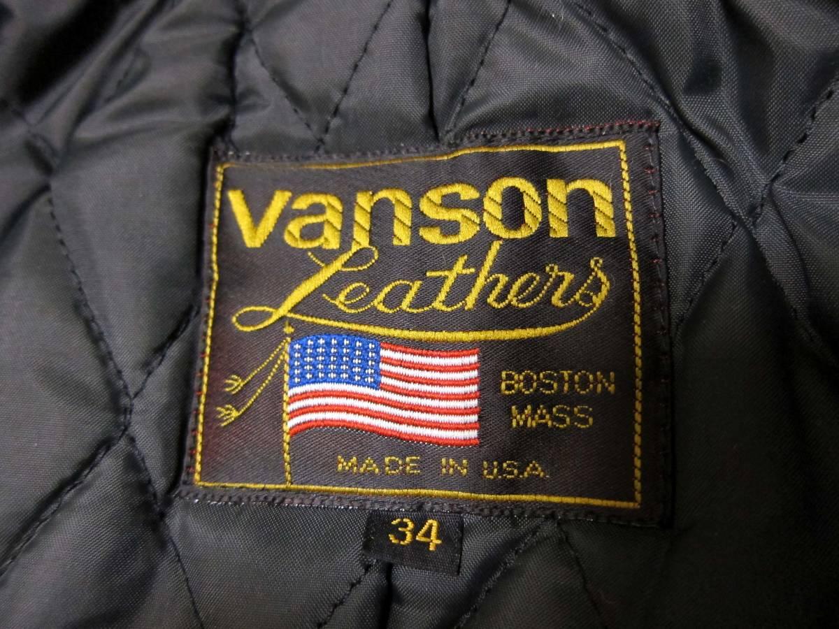 ☆バックドロップ別注☆オールドタイプのバンソン襟付きシングルライダース VANSON TYPE.9D Size.34_画像9