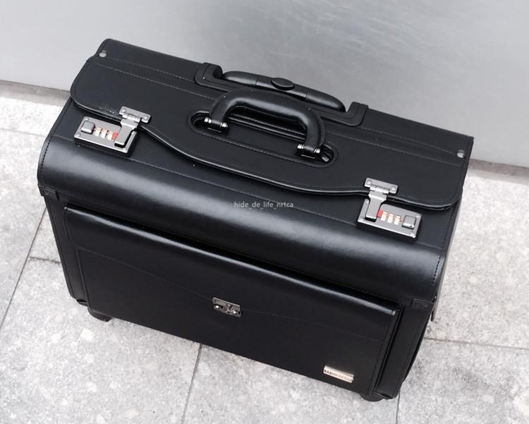 高品質 スーツケース ユニバーサルホイール 19インチトロリーケース レザー ビジネス 乗務員用 パスワードロック 機内持ち込み可 R138-1_画像3