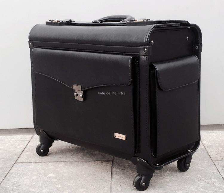 高品質 スーツケース ユニバーサルホイール 19インチトロリーケース レザー ビジネス 乗務員用 パスワードロック 機内持ち込み可 R138-1_画像4