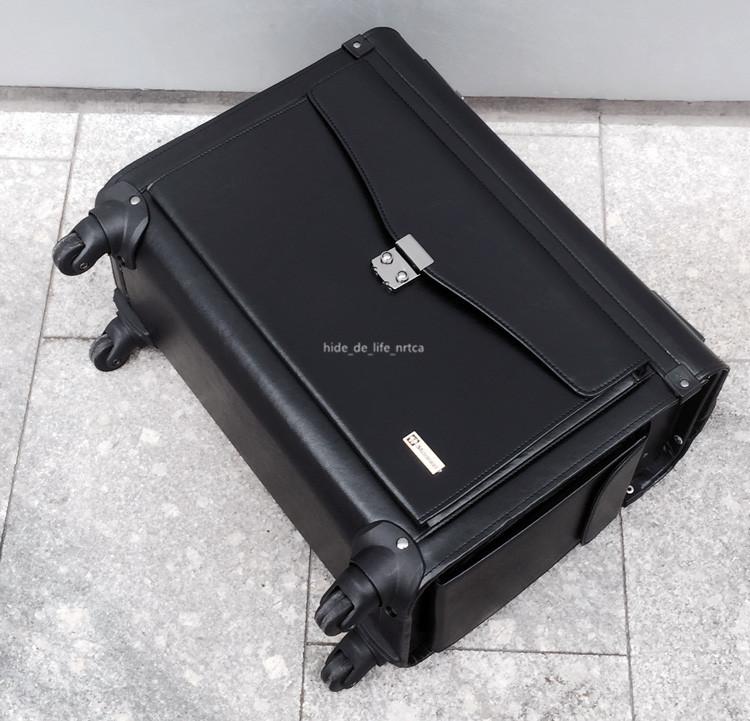 高品質 スーツケース ユニバーサルホイール 19インチトロリーケース レザー ビジネス 乗務員用 パスワードロック 機内持ち込み可 R138-1_画像5