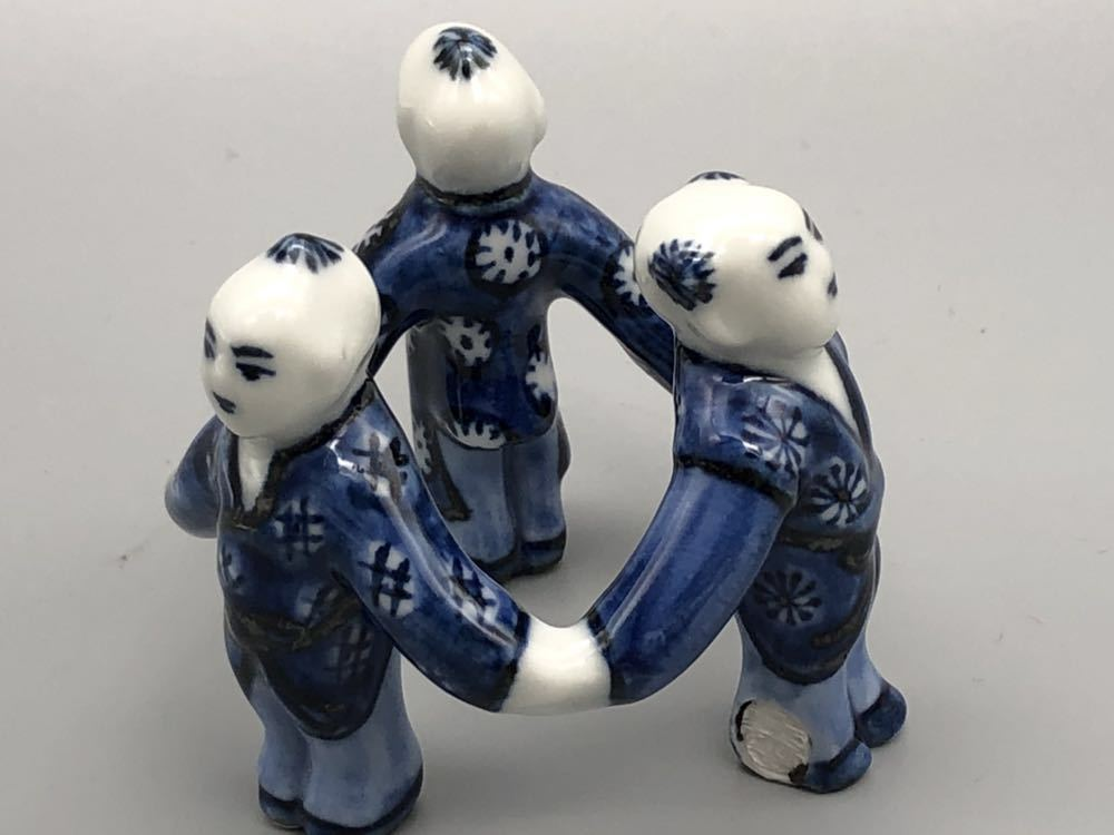 【悠】1000円~ お茶道具 染付 平安 《景雲》 三ツ人形 蓋置 煎茶道具 茶道具 _画像2