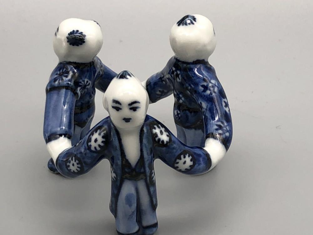 【悠】1000円~ お茶道具 染付 平安 《景雲》 三ツ人形 蓋置 煎茶道具 茶道具 _画像4