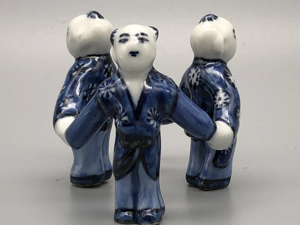 【悠】1000円~ お茶道具 染付 平安 《景雲》 三ツ人形 蓋置 煎茶道具 茶道具 _画像3