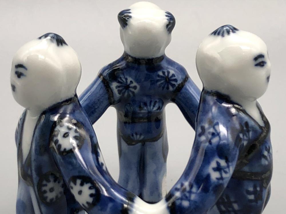 【悠】1000円~ お茶道具 染付 平安 《景雲》 三ツ人形 蓋置 煎茶道具 茶道具 _画像5