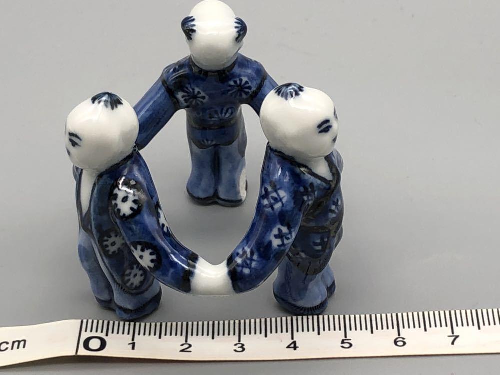 【悠】1000円~ お茶道具 染付 平安 《景雲》 三ツ人形 蓋置 煎茶道具 茶道具 _画像7