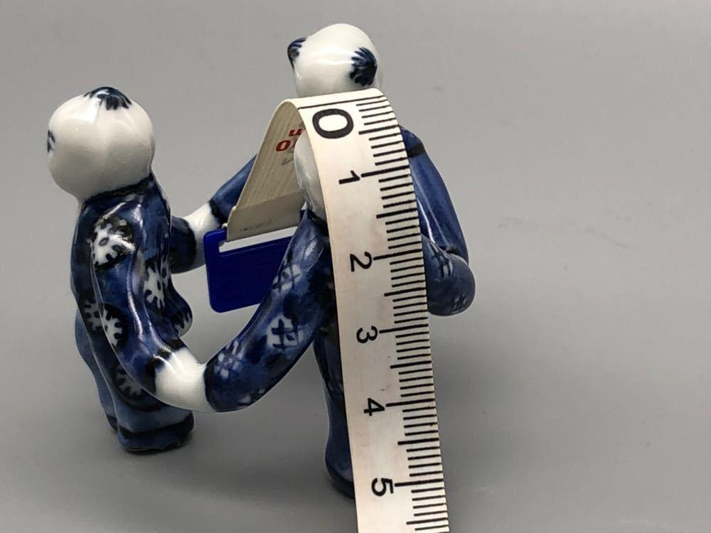 【悠】1000円~ お茶道具 染付 平安 《景雲》 三ツ人形 蓋置 煎茶道具 茶道具 _画像8