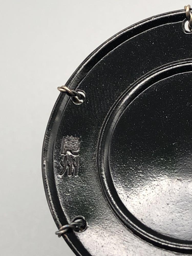 【悠】1000円~ お茶道具 黒漆 銀線紐鼓 蓋置 《井波慶州》造 共箱有 煎茶道具 茶道具 _画像5