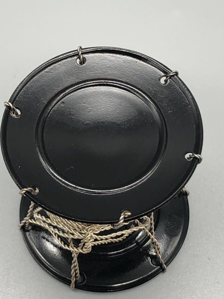 【悠】1000円~ お茶道具 黒漆 銀線紐鼓 蓋置 《井波慶州》造 共箱有 煎茶道具 茶道具 _画像4
