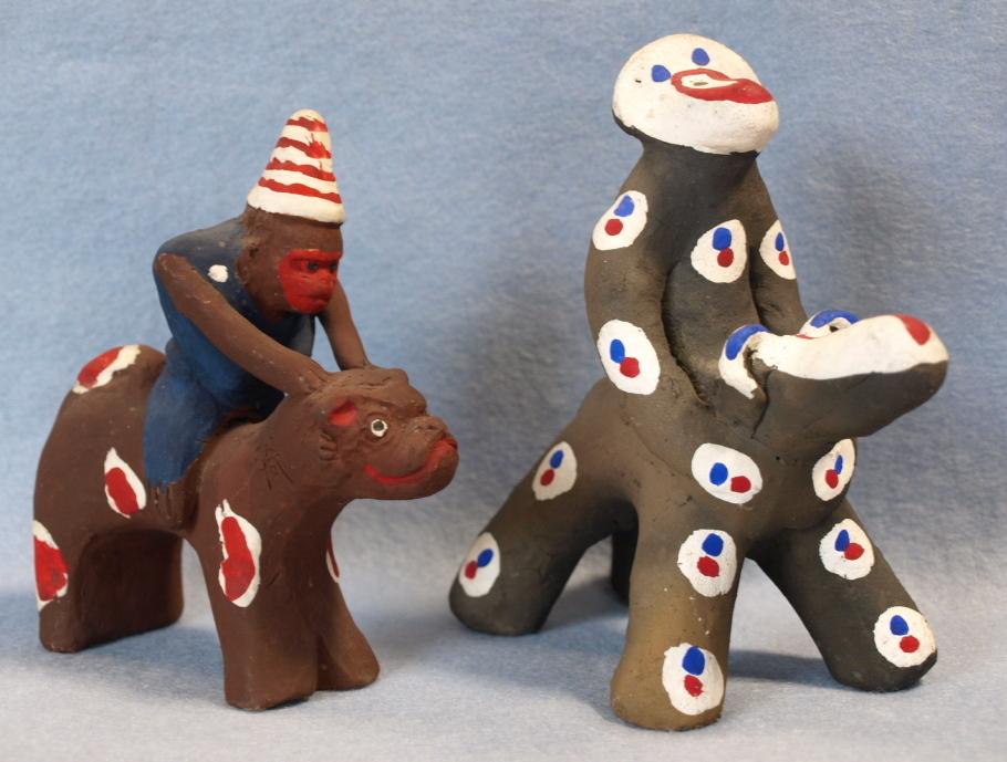 ◆郷土玩具◆ 犬のり猿 長崎・中原仁斉  木の葉猿 熊本・永田武二
