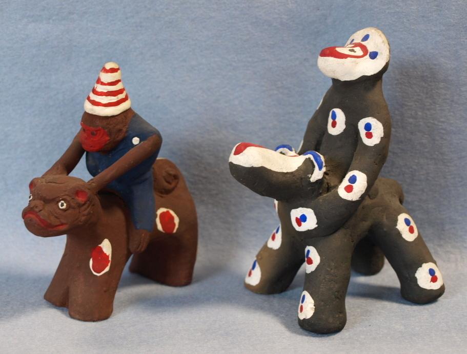 ◆郷土玩具◆ 犬のり猿 長崎・中原仁斉  木の葉猿 熊本・永田武二_画像2
