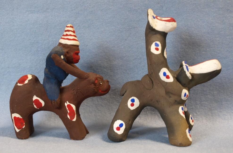 ◆郷土玩具◆ 犬のり猿 長崎・中原仁斉  木の葉猿 熊本・永田武二_画像3