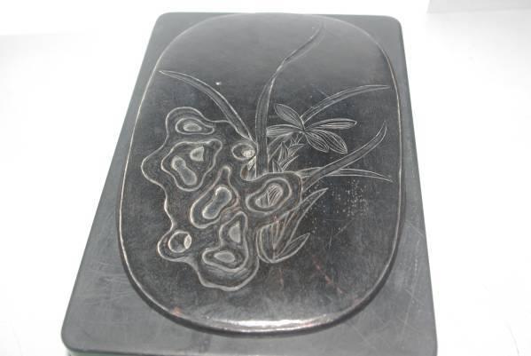 中国 清代 古硯 蘭 奇石 紫檀蓋 梅 蘭花 極細工