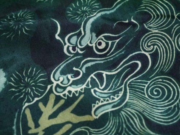 アンティーク 長襦袢 正絹 大正ロマン 唐獅子 牡丹 緑 レトロ 着物 古布 古裂 リメイク 材料 ハンドメイド 生地 古典柄 和柄_画像6