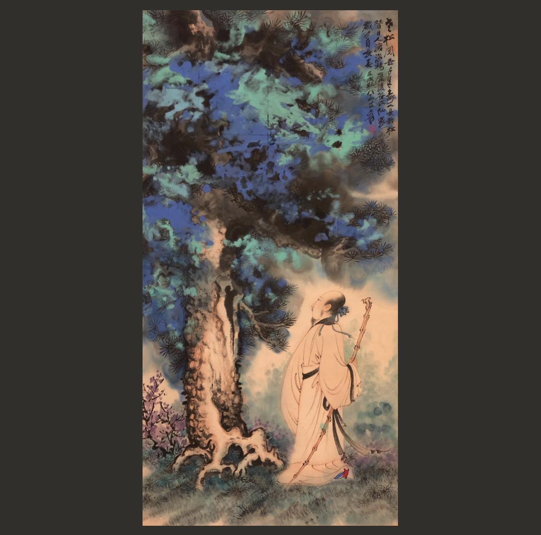 【掛軸】張大千 中国現代美術 紙本 肉筆時代保証 Fine Chinese Hanging scroll painting
