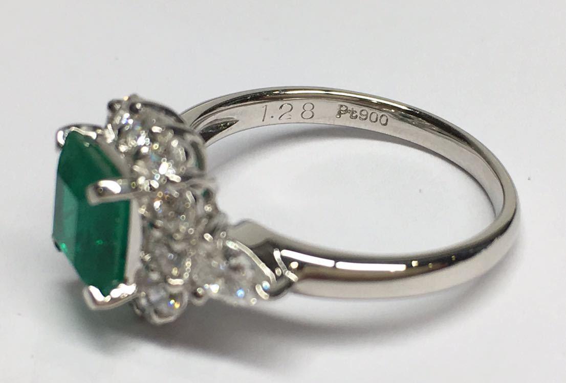 ◆綺麗 上質 天然エメラルド 1.28ct ダイヤモンド 高級リング コロンビア産 0.93ct/Pt900 中央宝石研究所 鑑別書付◆_画像6