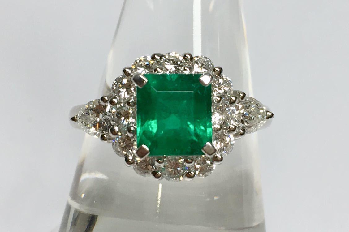 ◆綺麗 上質 天然エメラルド 1.28ct ダイヤモンド 高級リング コロンビア産 0.93ct/Pt900 中央宝石研究所 鑑別書付◆_画像7
