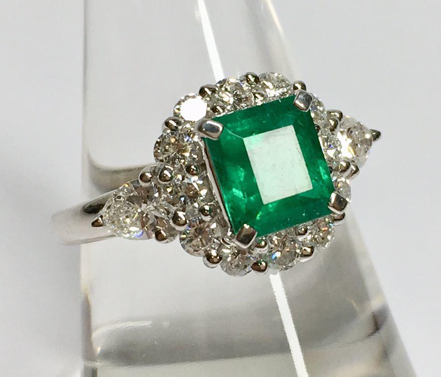 ◆綺麗 上質 天然エメラルド 1.28ct ダイヤモンド 高級リング コロンビア産 0.93ct/Pt900 中央宝石研究所 鑑別書付◆_画像8
