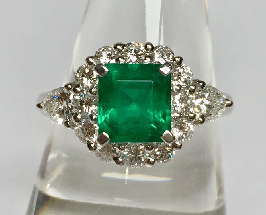 ◆綺麗 上質 天然エメラルド 1.28ct ダイヤモンド 高級リング コロンビア産 0.93ct/Pt900 中央宝石研究所 鑑別書付◆_画像2