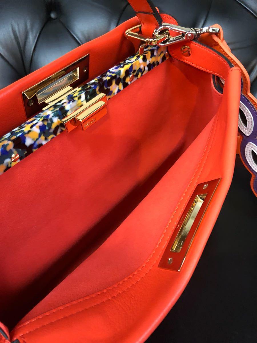 レア希少モデル私物中古品 FENDI / フェンディ / 2way PEEK-A-BOO / Wストラップ付き/パッションオレンジ マーブルミックスカラー_画像8