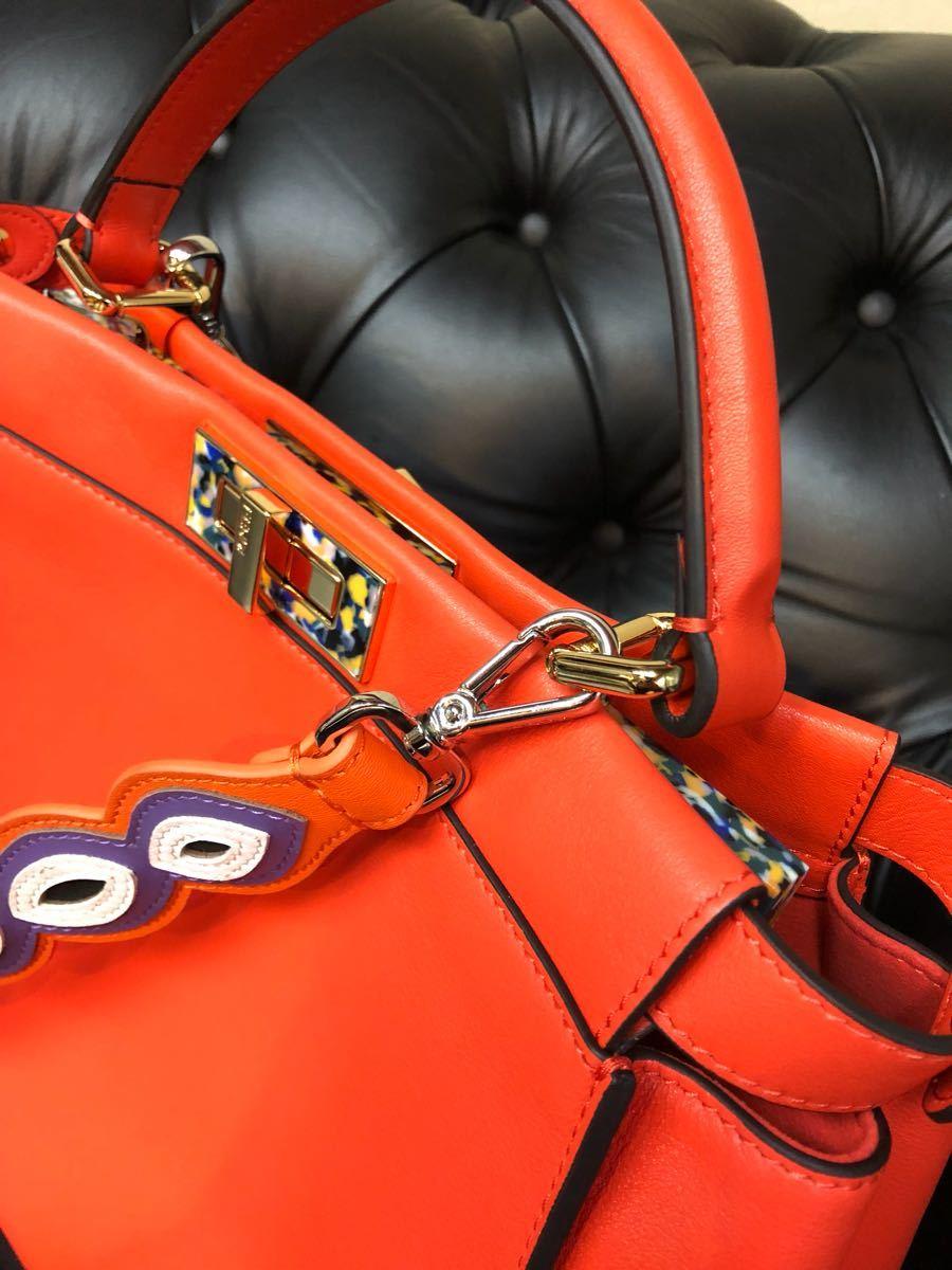 レア希少モデル私物中古品 FENDI / フェンディ / 2way PEEK-A-BOO / Wストラップ付き/パッションオレンジ マーブルミックスカラー_画像3