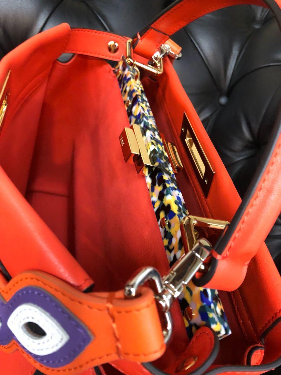 レア希少モデル私物中古品 FENDI / フェンディ / 2way PEEK-A-BOO / Wストラップ付き/パッションオレンジ マーブルミックスカラー_画像4
