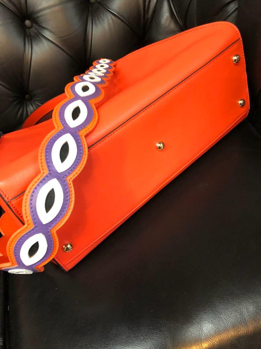 レア希少モデル私物中古品 FENDI / フェンディ / 2way PEEK-A-BOO / Wストラップ付き/パッションオレンジ マーブルミックスカラー_画像5