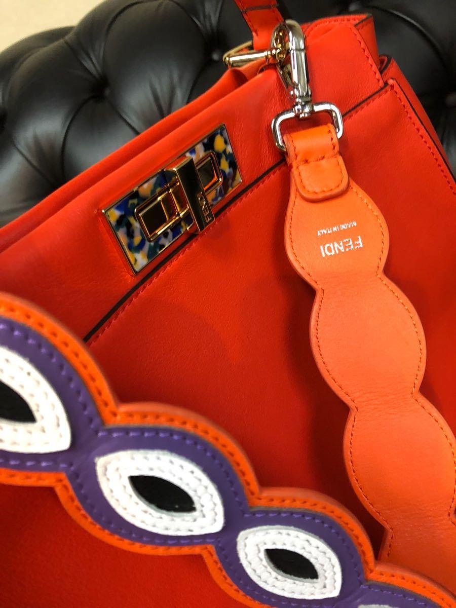 レア希少モデル私物中古品 FENDI / フェンディ / 2way PEEK-A-BOO / Wストラップ付き/パッションオレンジ マーブルミックスカラー_画像7