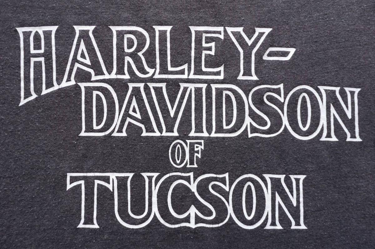 1980s ヴィンテージ HARLEY-DAVIDSON 3D EMBLEM イーグル&モノトーン 両面プリント Tシャツ L程度 ブラック ハーレーダビッドソン USA 古着_画像6